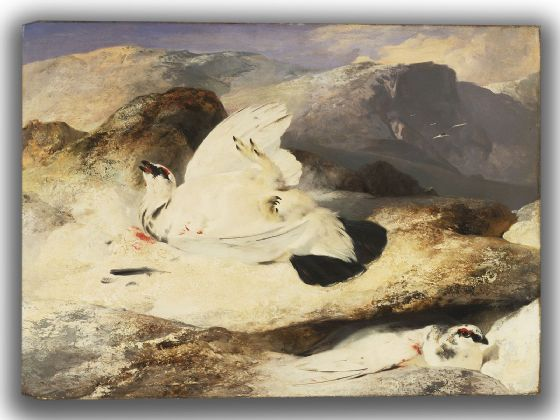 Landseer, Sir Edwin: Ptarmigan in a Landscape. Fine Art Canvas. Sizes: A4/A3/A2/A1 (003938)